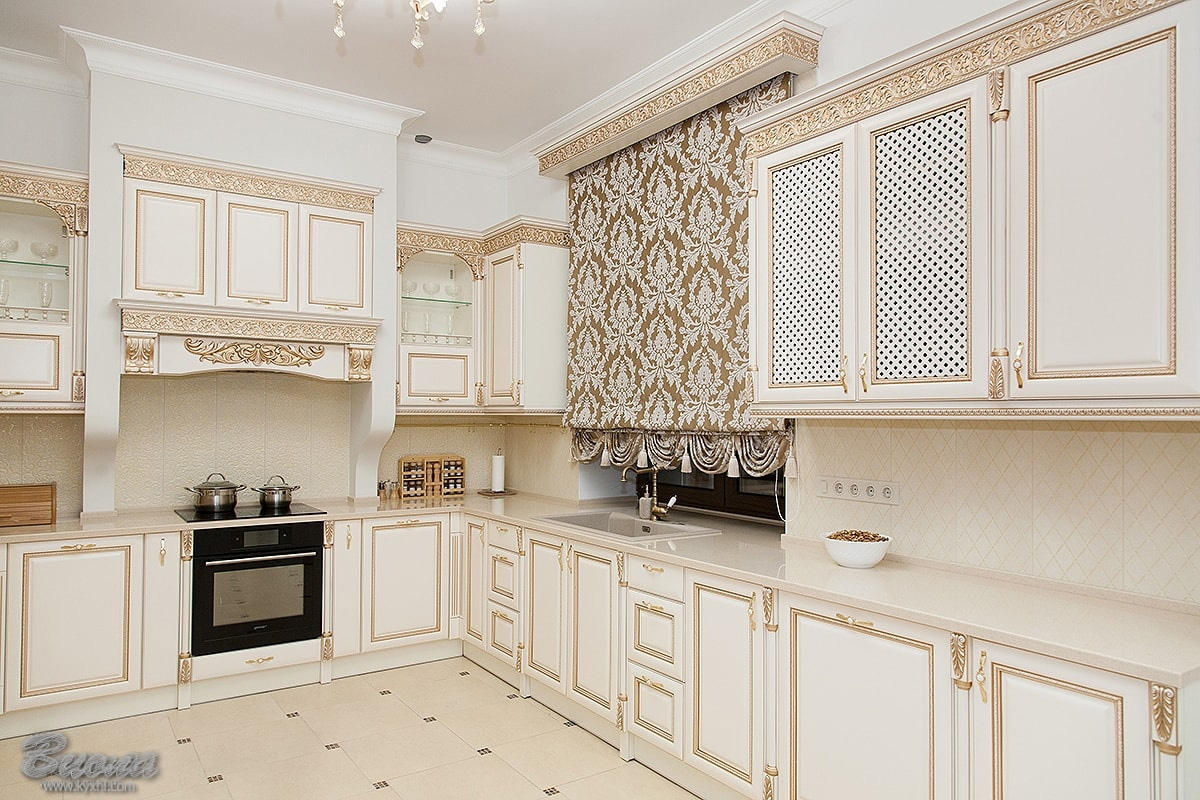 интерьер кухни в стиле прованс с элементами классики