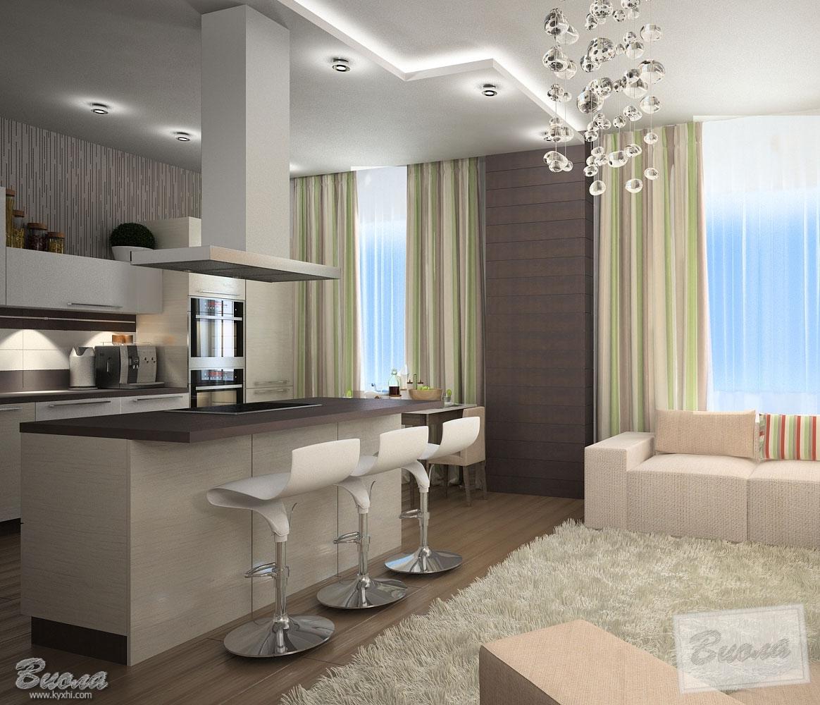 дизайн интерьера кухни с барной стойкой в квартире студии фото