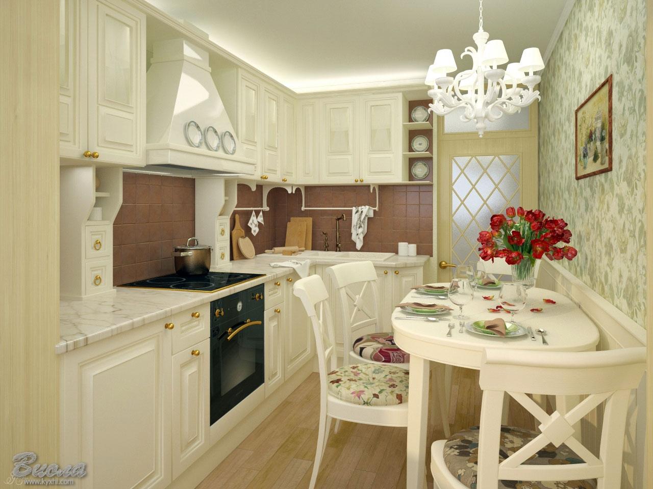 дизайн кухни в теплых пастельных тонах цена фото
