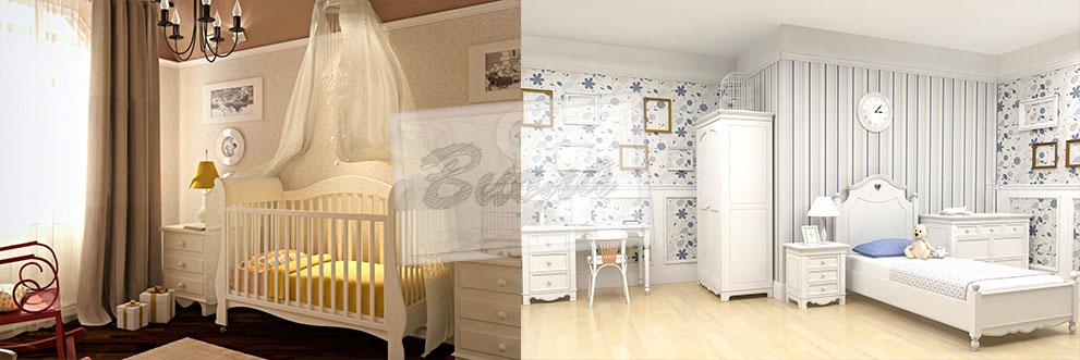 Кроватка для детской спальни для девочки