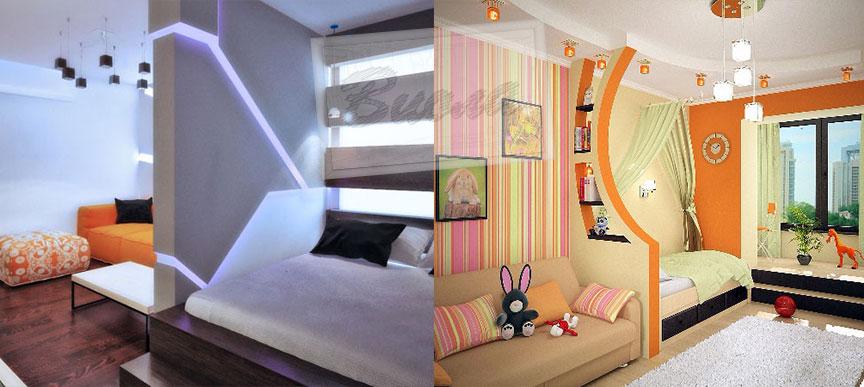 Оформление детской и спальни в одной комнате