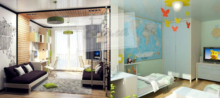 Интерьер детской и спальни в одной комнате