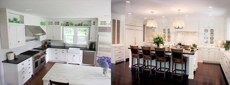 Дизайн белой классической кухни